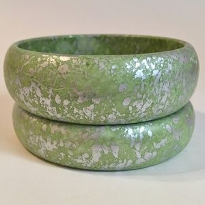 Bracelets Pair Lime Green Silver Painted Wood
